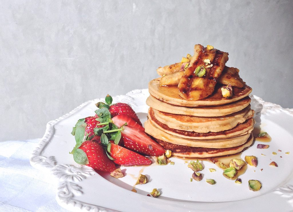 Vanilla and Lemon Buckwheat Ricotta Pancakes - Three Silver Spoons