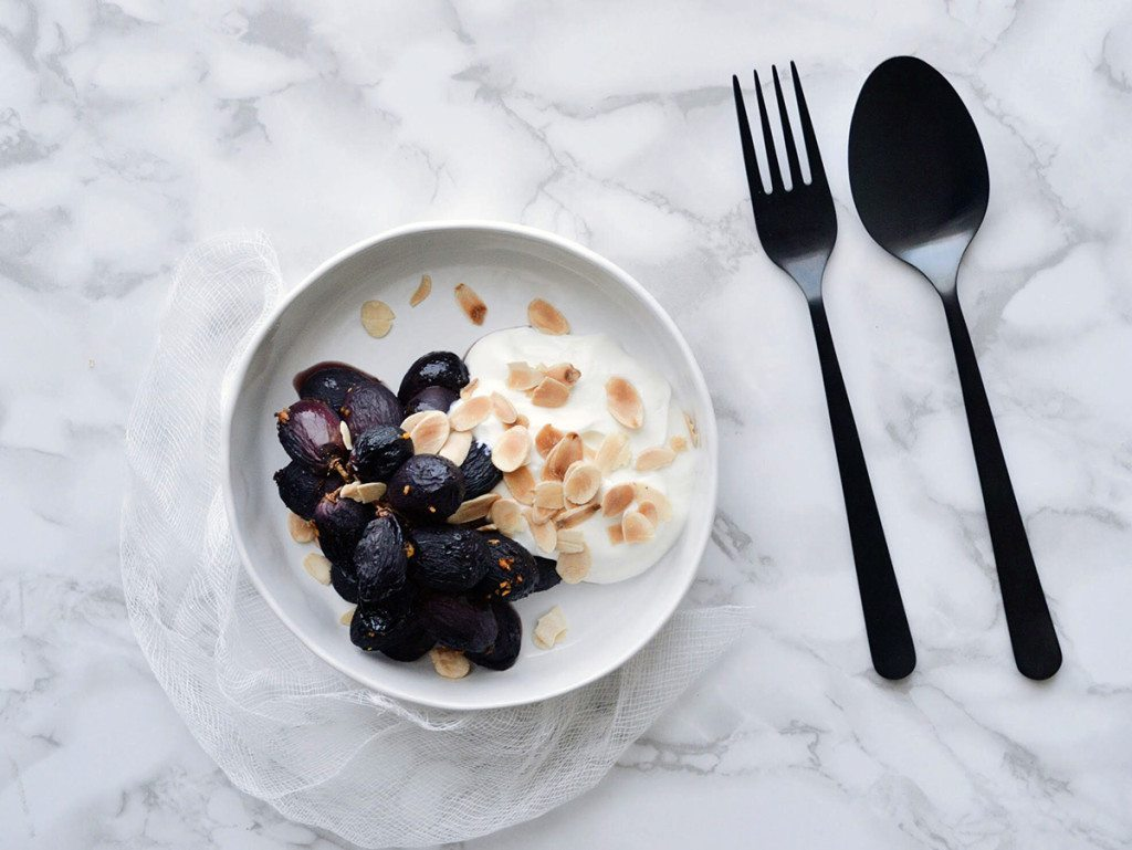 Roast Grapes with Yoghurt - Three Silver Spoons