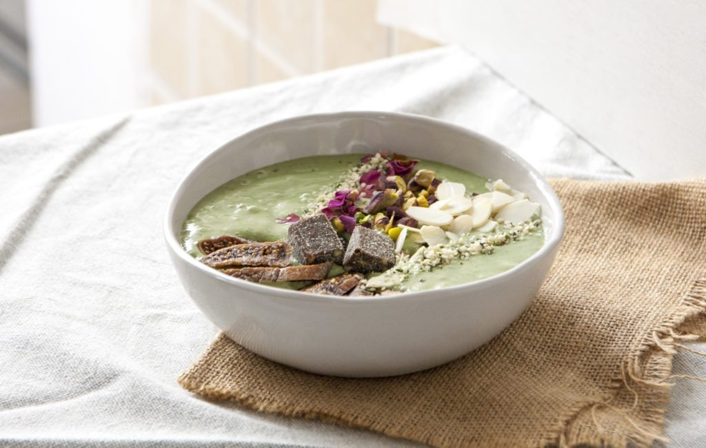 Matcha & Spirulina Green Tropical Smoothie Bowl - Three Silver Spoons