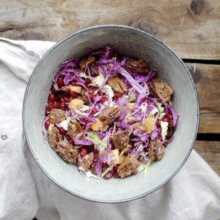 Festive Christmas Salad with Cabbage & Candied Pecans - Three Silver Spoons