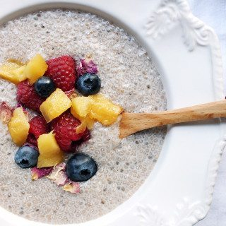 Warm Coconut Chia Pudding - Three Silver Spoons